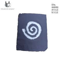 Hand design Gift wrapping paper - navy blue with white spiral
