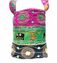 Ari Embroidery Mirror Work Stripe Style Shoulder Bag