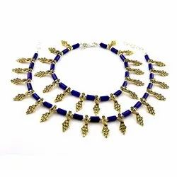 Oxidized Blue Stone Golden Anklets