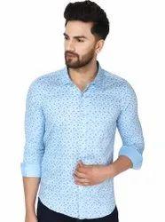 SKAVIJ Men's Dress Shirt Slim Fit Casual Floral Print Shirt Long Sleeve