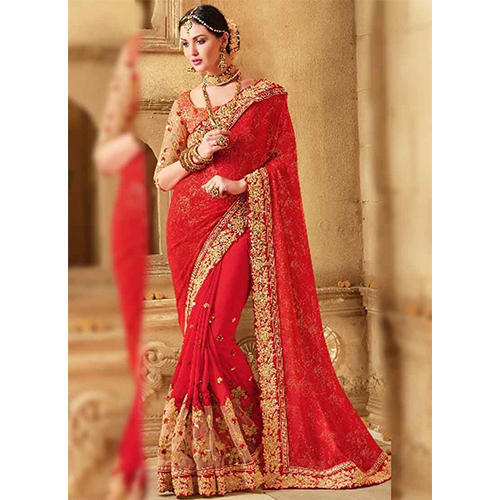 Red Bridal Saree, With Blouse Piece, Rs 1300 /piece, Sai