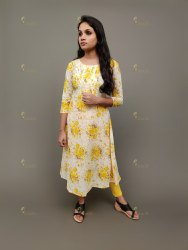 Multicolor 3/4th Sleeve Casual Cotton Printed Kurti