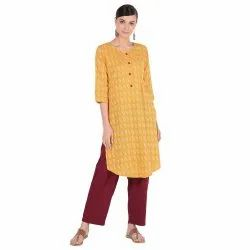 Kantha Work Straight Kurta Hc683yellow