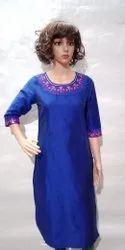Brass Badge 3/4th Sleeve Straight Kurti With Embroidery In Slub Silk, Wash Care: Machine Wash
