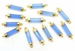 Blue Chalcedony Gold Electroplated Tube Shape Connector