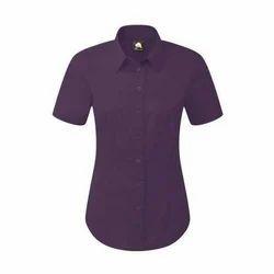 Cotton Plain Essential Half Sleeves Ladies Shirt