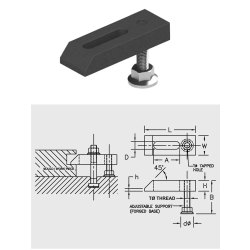 TAPPED END CLAMP-WITH ADJUSTABLE SUPPORT