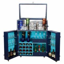 Antique Blue Designer Bar Chest