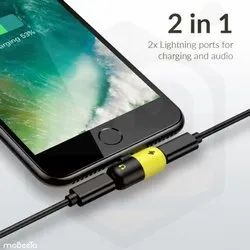 2 in 1 Lightning Splitter Adapter Double Lightning Ports for Dual Lightning Audio and Charge Adapter