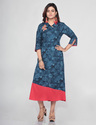 Rayon Blue Printed A Line Kurti With Asymmetrical Neck Style, Size: M To Xxl