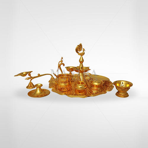 Gold Plated Pooja Set & Gold Plated Pooja Set at Rs 36666 /unit | Puja Accessories | ID ...