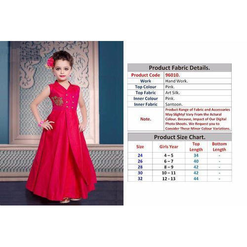 0c2f3ef83b0b1 Pink Party Wear Kids Art Silk Gown, Size: 28 And 30, Rs 1499 /piece ...