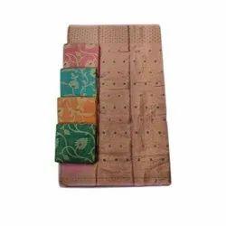 AK Textiles Casual Wear Ladies Banarasi Cotton Saree, 5.5 m (separate blouse piece)