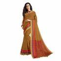 Brown Color Chanderi Banarasi Cotton Weaving Sari With Blouse Piece