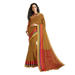 Brown Color Chanderi Banarasi Cotton Weaving Sari With Blouse Piece