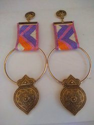 Antique Gold Motifs Fabric Earrings