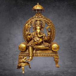 Golden (Gold Plated) Gold Plated Brass Ganesha Statue, For Decoration