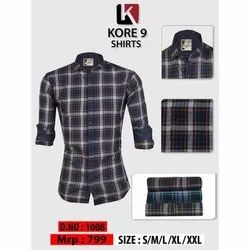 S-xxl Kore 9 Formal Cotton Check Shirt, Packaging Type: Packet