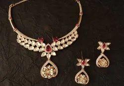 Mumbai ROSE GOLD Emerald And Ruby Ad Necklace Set