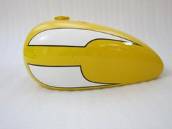 New Triumph T140 Yellow And White Painted Petrol Tank (Reproduction)