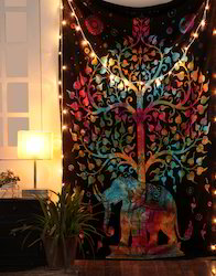 Tie Dye Mandala Tree Elephant Printed Wall Hanging Multiuse Tapestry