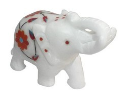 Hand Crafted Marble Inlay Elephant