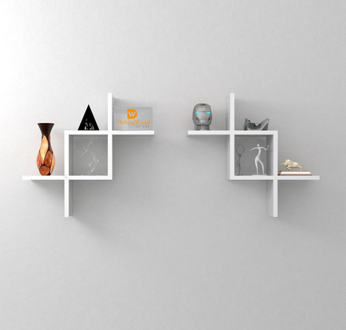Intersecting Storage Wall Shelves Rack   White