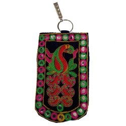Embroidery Mirror Work Saree Clip Mobile Phone Holder, Size: 4