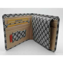 Leather Mens Check Print Wallet