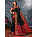Plain Black Cotton Silk Saree