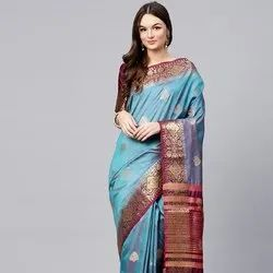 Blue Banarasi Weaving Saree
