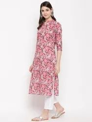 Pink Floral Cotton Women Kurta