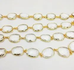 Clear Crystal Gemstone Gold Plated Bezel Connector Chain