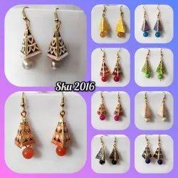 Golden Alloy Meenakari Earrings