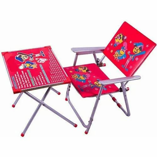 Plastic And Iron Neelam Foldable Kids Table Chair Set