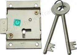 RAMSON Iron Cupboard Lock 6 Lever with 2 Keys, Silver, Size 7 Cm X 5 Cm X 1.5 Cm