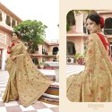Georgette Brown Embroidered Saree