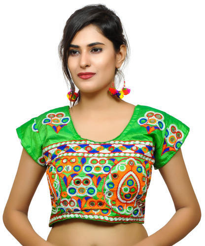 9697ff85ee72f4 Banjara India Women  s Dupion Silk Aari Embroidered Short Sleeves Kutchi  Blouse Green