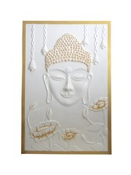 Gautam Buddha Wall Hanging In White And Golden Color