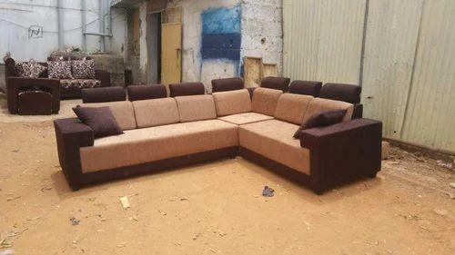 Fabric Design Corner Sofa Set Latest Color 3 Years Warranty Branded