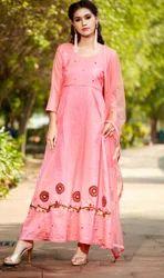 Anarkali Embroidered L.Pink Silk Fancy Designer Kurti, Machine wash