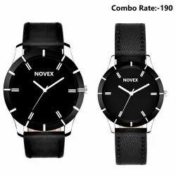Round Luxury(premium) Novex Analog Boy's & Girl's Black Combo of 2 Watches