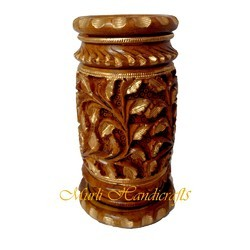 Hand Carved Wooden Pen Stand