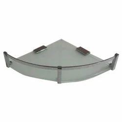 Rudrax Transparent Glass Corner Shelf