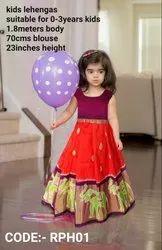 Orange And Maroon Ikkat Kids Party Wear Silk Lehenga, 1