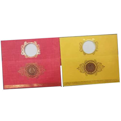 Trendy Wedding Invitation Cards: Red And Yellow Paper Designer Wedding Invitation Card, Rs