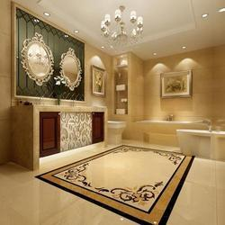 Flower Design Marble Inlay Flooring Service