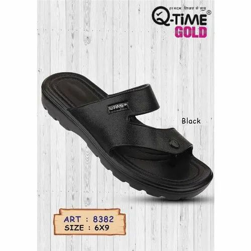 Daily Wear Gold Q Time Gold 8382 Mens Black Plain Slipper, Size: 6-9