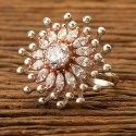 Girls White Designer Classic Ring With Rose Gold Plating 401015