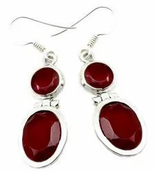Ruby with Pearl 925 Sterling Silver Earrings